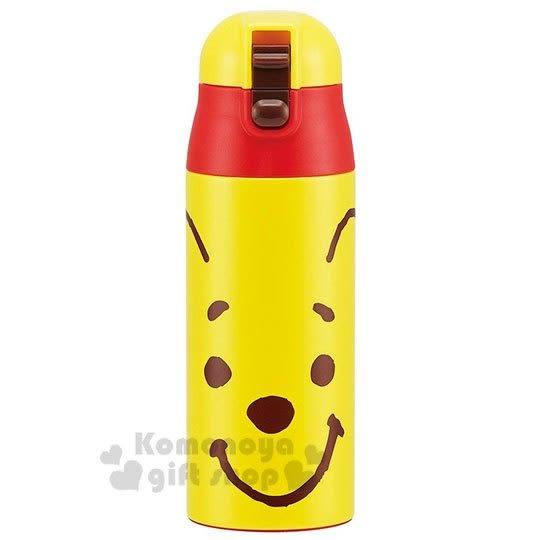 〔小禮堂〕迪士尼 小熊維尼 超輕量不鏽鋼保溫瓶《黃.大臉》360ml.水壺 4973307-38607