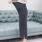 漂亮小媽咪 韓國托腹裙 【S8003】 開衩 坑條 顯瘦 高腰 托腹 孕婦 長裙 開岔 孕婦裝 半身裙