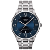 TISSOT天梭 杜魯爾系列動力80小時機械錶-藍x銀/42mm T0994071104800