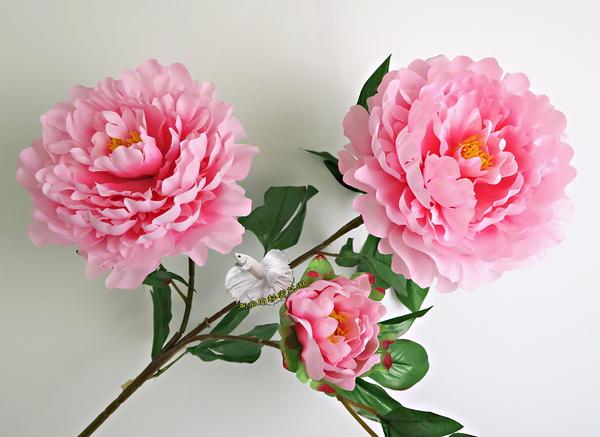 [粉紅色] 仿真3頭大牡丹花 假牡丹 芍藥 人造花花束 ~~ 插花.居家.店面.櫥窗擺飾.園藝
