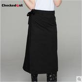 廚師半身圍裙 黑色餐廳廚房服務員精品工作服圍腰定制【YK389】