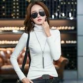 衛生衣 高領打底衫女秋冬新款加絨加厚白色修身長袖T恤韓版純色緊身衛生衣 小天後