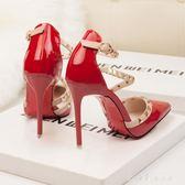 高筒鞋女細跟夏季韓版鉚釘尖頭女鞋小清新顯瘦一字扣涼鞋 小確幸生活館