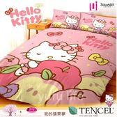 卡通天絲棉四件套【兩用被套+薄床包組】6*6.2尺*╮☆三麗鷗/凱蒂貓『kitty蘋果夢』/加大