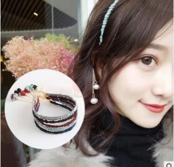 預購-文藝花朵珍珠假耳環髮箍韓國復古清新頭飾手工細頭箍髮飾