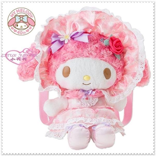 小花花日本精品♥ Hello Kitty 40周年美樂蒂 絨毛娃娃 女僕玩偶 後背包迷宮花園 玫瑰50067701