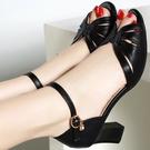 魚口鞋 女鞋性感魚嘴高跟鞋2021新款夏季粗跟魚嘴鞋一字帶涼鞋女時裝涼鞋 美物