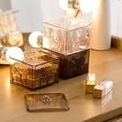 ★透明化妝棉收納盒口紅棉簽小盒子塑料桌面棉簽盒卸妝棉化妝棉盒