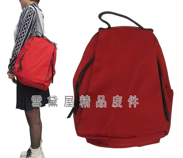 ~雪黛屋~COUNT 後背包中型容量可8寸平板進口防水尼龍布+皮革材質休閒BCD50001701200