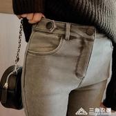 窄管褲 Q4914-女裝高腰學生加絨加厚修身小腳牛仔褲 1111 三角衣櫃