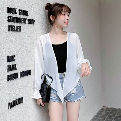 洋氣小衫外搭夏季新款雪紡小披肩超仙短款防曬衫薄開衫外套G447-H胖妞衣櫥