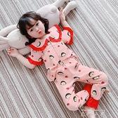 夏季純棉兒童女童睡衣短袖薄款中大童公主女孩套裝小孩寶寶家居服 米娜小鋪