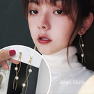 銀針耳環《可改耳夾式》百搭珍珠線型S型防過敏S925銀針耳針 (SRA0138) AngelNaNa