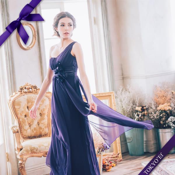 東京衣服 夢幻花束 單肩花朵編織垂墜雪紡長禮服 新娘 伴娘 酒會-深紫