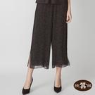 【岱妮蠶絲】純蠶絲喬其紗真絲雪紡寬褲-SWP41401VX(黑白波點)