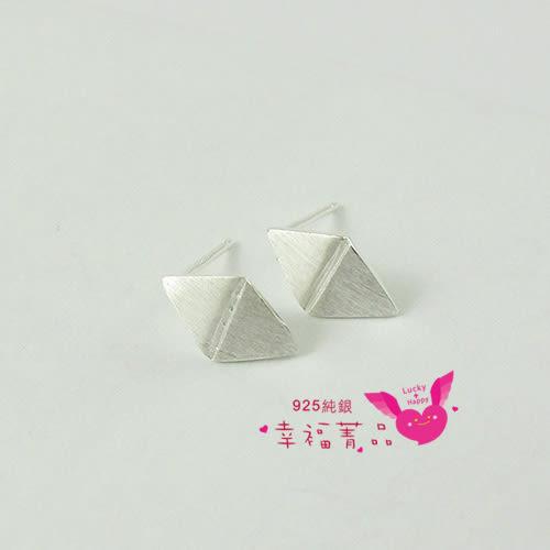 925純銀耳針耳飾│★〔霧銀風箏〕★│由二個三角形相對而成,高雅霧銀質感