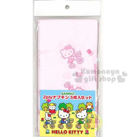 〔小禮堂〕Hello Kitty 日製餐巾紙《5入.粉.腳踏車》銅板小物 4950675-15131