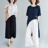雙11民族風上衣復古文藝T恤夏裝前短后長寬鬆中長款T恤棉麻襯衫盤扣女上衣