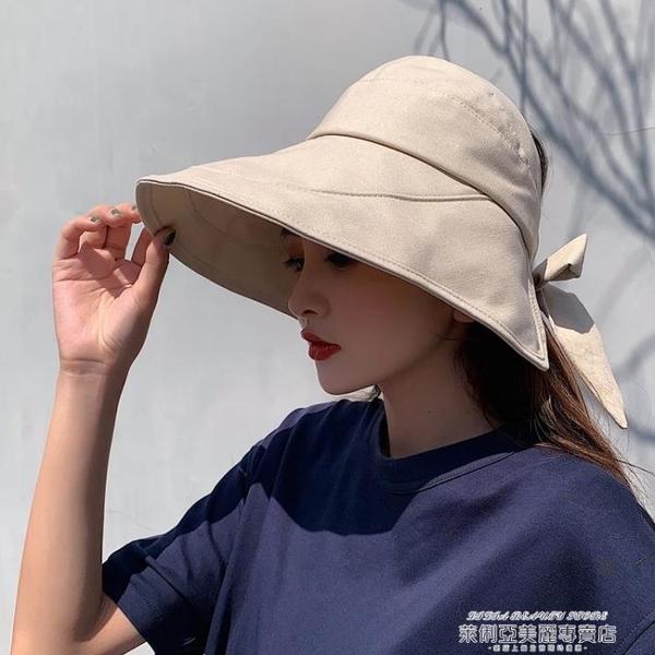漁夫帽 日本UV防曬帽子女韓版百搭遮臉大檐網紅漁夫帽防紫外線遮陽空頂帽 夏季新品