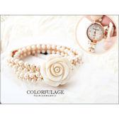 范倫鐵諾Valentino 手感雕刻天然珍珠貝山茶花造型腕錶 柒彩年代【NE773】原廠公司貨