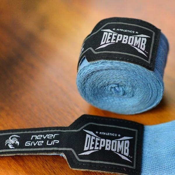 『VENUM旗艦館』DEEPBOMB 原裝BOXING專業拳擊手綁帶~2.5米  天空藍黑色 純棉 無彈性 手綁帶