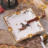 歐式陶瓷雪茄煙灰缸 高檔會所美式復古家用客廳裝飾煙缸大號