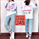 克妹Ke-Mei【AT54643】GIRLS年輕感印花寬T+字母繃帶哈倫褲套裝