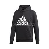 adidas 長袖T恤 MH BOS PO FL 黑 白 男款 帽T 基本款 運動休閒 【ACS】 DT9945