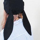 日系李白同款軟妹帽子兔兒貝雷帽女甜美可愛黑色畫家帽潮