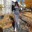歐媛韓版 長袖洋裝 秋冬新款女拼接網紗名媛性感V領收腰顯瘦小個子禮服連身裙