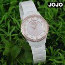 【萬年鐘錶】JOJO 陶瓷鑽錶 NATURALLY  典雅氣質陶瓷錶  白淺粉  JO96881-81R