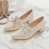 小皮鞋 2021年秋季新款仙女鞋大東中跟粗跟尖頭小皮鞋女平底單鞋女夏百搭 韓國時尚週