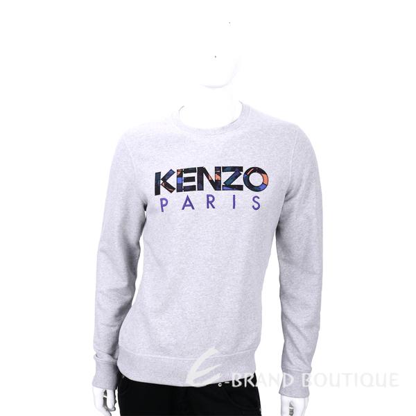 KENZO 淺灰色花布字母LOGO長袖上衣 1540230-D7