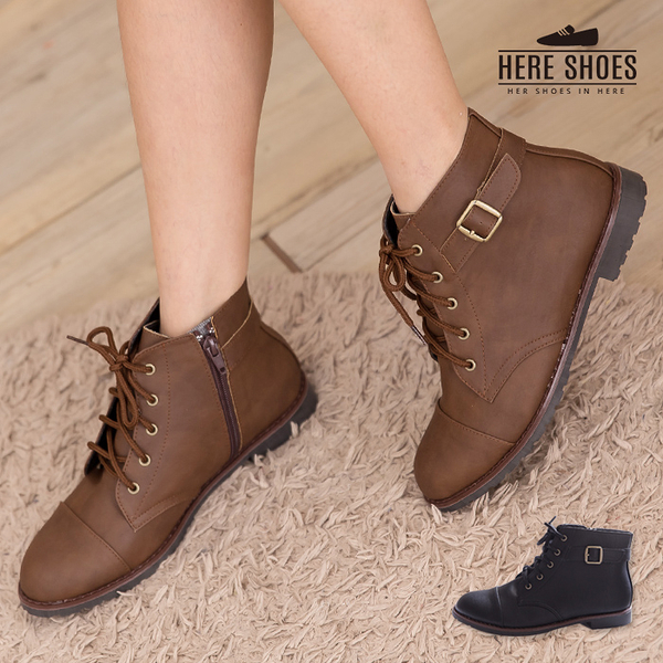 [Here Shoes] MIT台灣製 個性輕旅行 皮革素面側拉鍊綁帶式 粗低跟超舒適短靴 機車靴 2色 ─KW9989