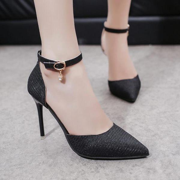 高跟鞋女尖頭細跟銀色亮片新娘高跟鞋女水晶婚鞋女