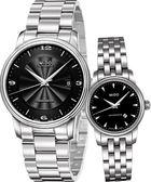 MIDO 美度 經典時尚雅緻機械對錶/情侶手錶-黑 M0104081105700+M76004181