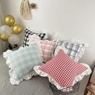 ins可愛格子全棉方抱枕 白色花邊少女系臥室床上沙發靠墊腰靠含芯 NMS蘿莉新品