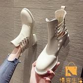 馬丁靴女英倫風涼靴粗跟夏季短靴【慢客生活】