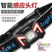 頭燈 強光感應LED可充電夜釣魚米超亮超輕防水頭戴式 1色