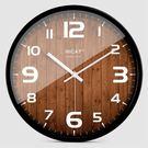 時鐘HICAT歐式創意木大號靜音掛鐘現代時尚客廳個性臥室石英時鐘表 DF  維多