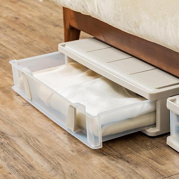 大號扁平床底收納箱抽屜式衣服被子整理箱塑料帶滑輪 NMS 露露日記