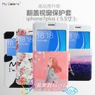 88柑仔店-- ~韓國彩繪開窗蘋果iphone7plus手機套7P卡通彩繪皮套iphone7plus開窗支架保護套