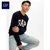 Gap男裝 Logo圓領長袖針織衫 474794-海軍藍色