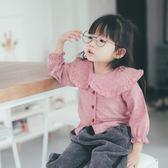 2018年春季新品韓國兒童格子襯衫女寶寶大領荷葉邊娃娃襯衫【全館免運八五折任搶】