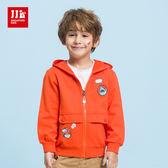 JJLKIDS 男童 海世界大口袋純棉連帽外套(橙色)
