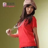 質感--涼爽時節必備超修飾感前後V領微毛料短袖針織衫(白、黑、紅、紫M-2L)-U14眼圈熊中大尺碼