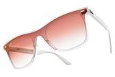 RayBan 太陽眼鏡 太陽眼鏡 RB4440NF 6357V0 (透明白-漸層粉鏡片) 清新方框款  # 金橘眼鏡