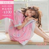 新品折$100-i PINK 清新甜夢 冰絲棉涼感連身裙居家服睡衣(粉底花朵)