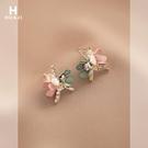 耳環 花跡撞色花朵耳釘女森系超仙氣質鑲鉆耳環甜美個性小巧精致耳飾 晶彩 99免運
