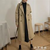 女士氣質收腰繫帶開叉風衣韓版休閒寬鬆中長外套上衣潮 小艾時尚